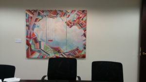 """Manatee Swing, Oil on Canvas, 48"""" x 60"""" installed at Lando and Anastasi, LLP, 2016"""