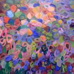 """Flowering Plant II, Acrylic on Pane, 12"""" 12"""", 2015"""